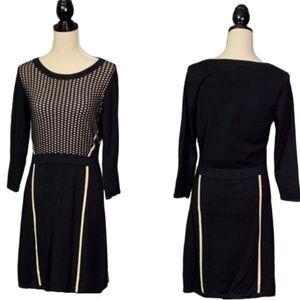 The LIMITED Black Tan Colorblock Sweater Dress L